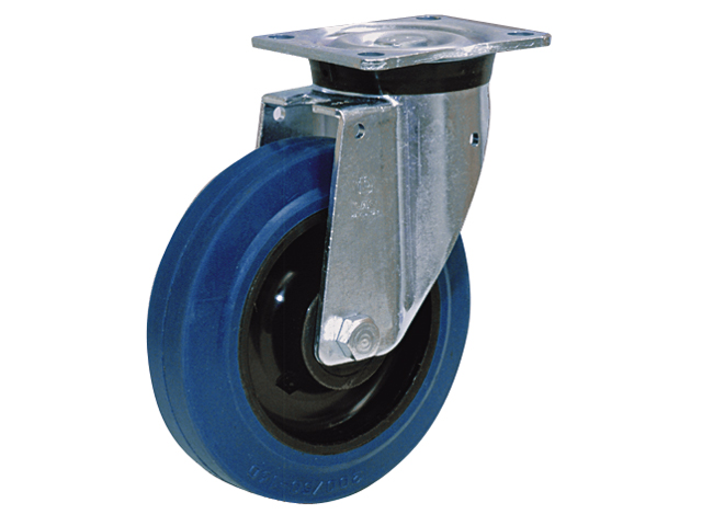 Swivel castor with nylon hub and elastic rubber tyre up to