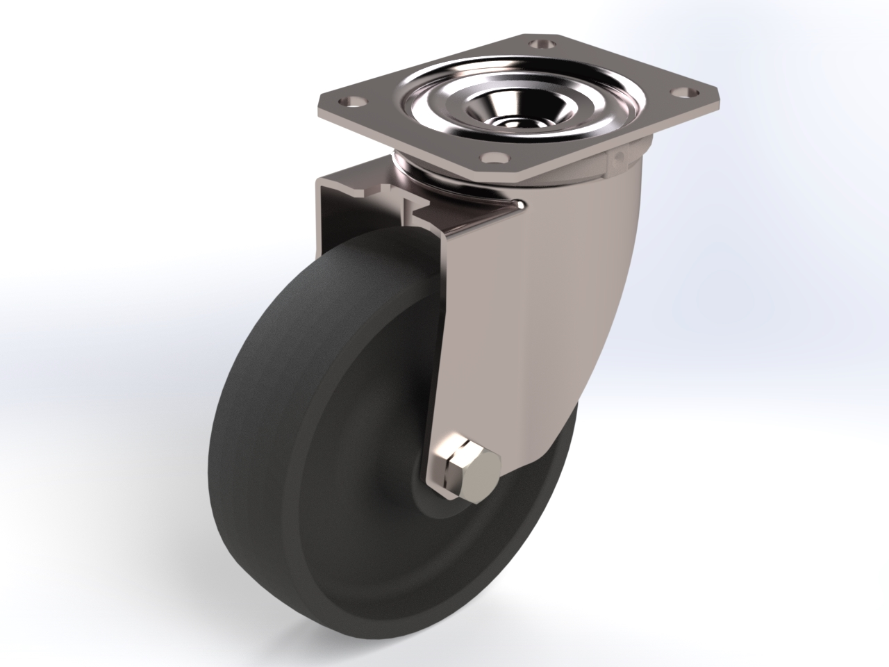 Series FS plain bearing, Swivel castors X20 (INOX) with plate fitting