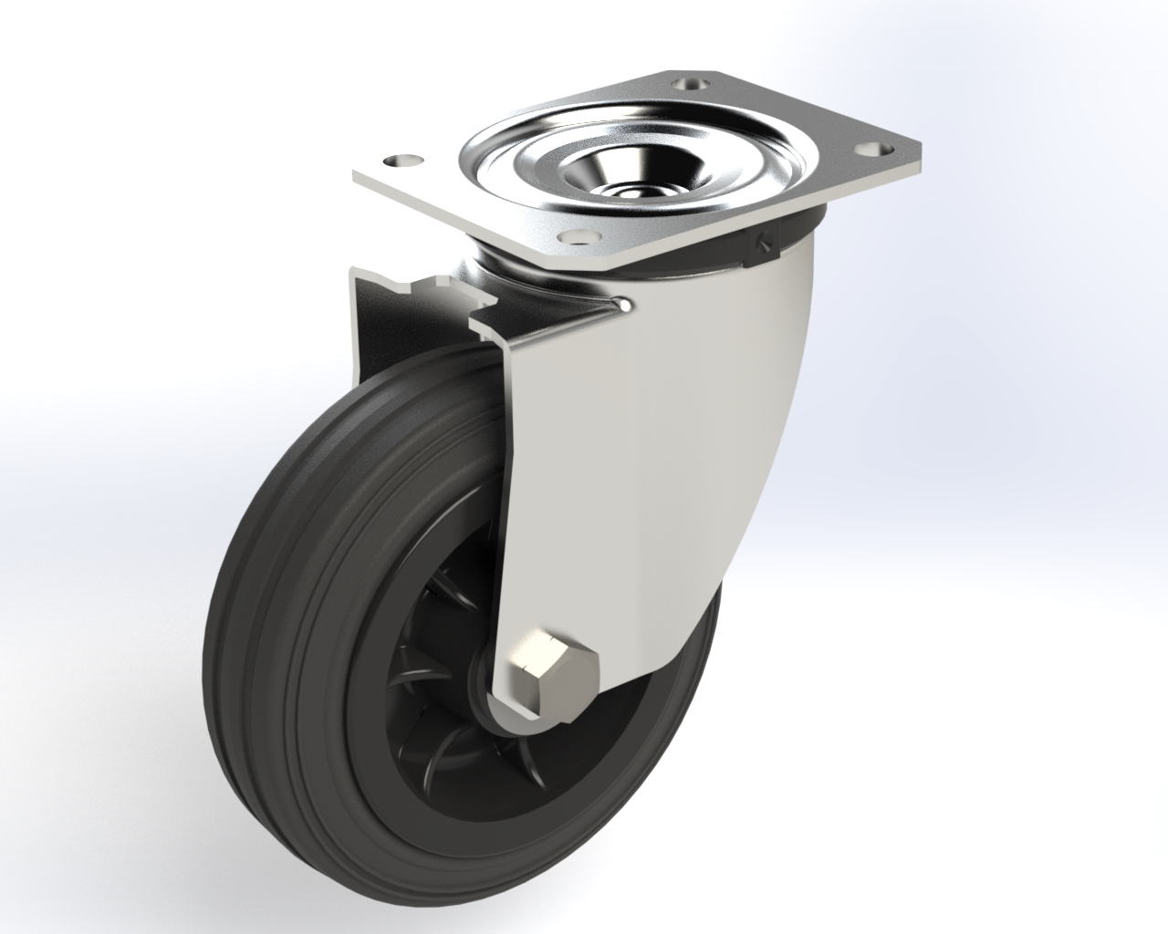 Series DZ roller bearing, Swivel castors M22 with brake, plate fitting